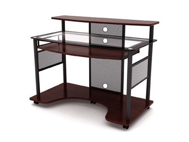 Modern Glass Workstation with Cherry Finish
