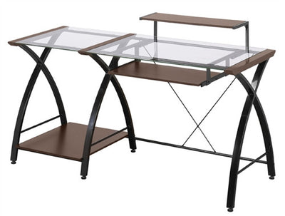 Contemporary Glass Desk with Cherry Finish