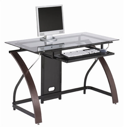 Modern Smoked Glass Workstation with Espresso Finish