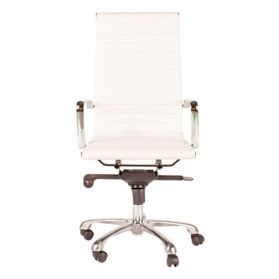 Multi-Position Tilt-Locking High Back Conference Chair in White (Set of 2)