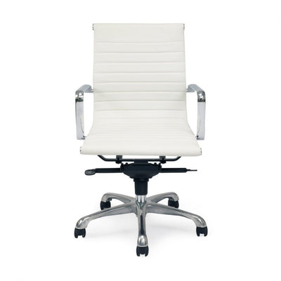 Multi-Position Tilt-Locking Low Back Conference Chair in White (Set of 2)