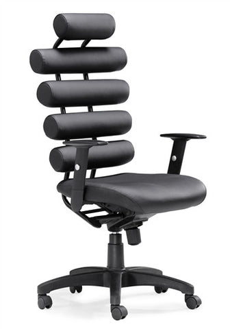 Sleek Black Leather Office Chair with Lumbar Support