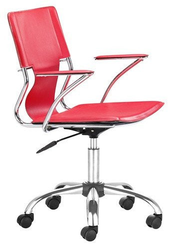 Sling Task Chair with Chrome Rolling Base in Red