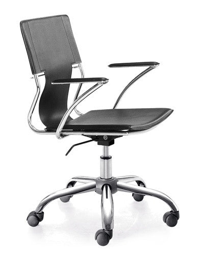 Sling Task Chair with Chrome Rolling Base in Black