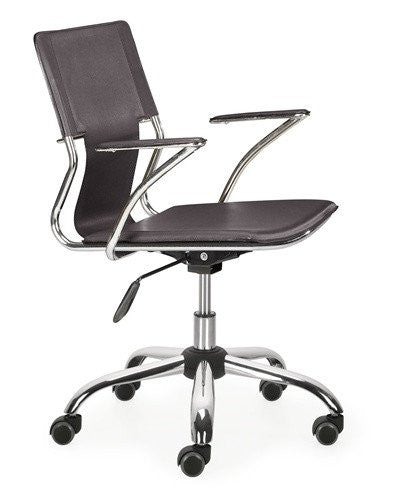 Sling Task Chair with Chrome Rolling Base in Espresso