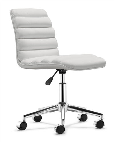 Sleek White Armless Office or Conference Chair