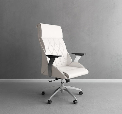 Regal White Leather & Chrome Modern Office Chair