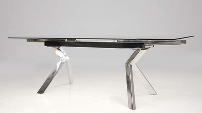 "62-94"" Extending Glass Desk or Conference Table with Unique Stainless Legs"