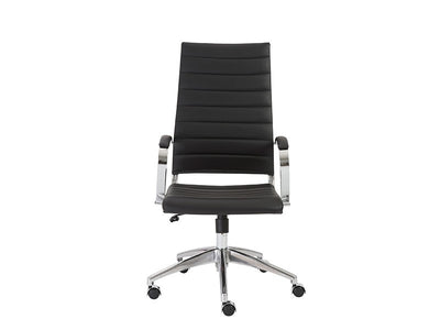 Black Leather High Back Office Chair with Chromed Steel Frame