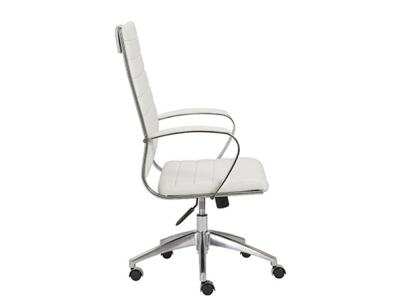 White Leather High Back Office Chair with Chromed Steel Frame
