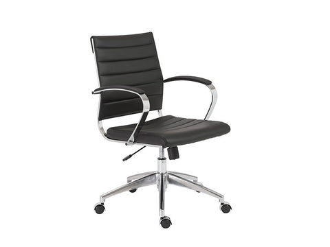 Black Leather Low Back Office Chair with Chromed Steel Frame