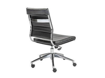 Modern Black Leather Armless Office Chair with Chrome Base