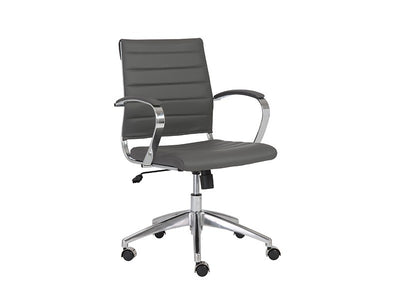 Gray Leather Low Back Office Chair with Chromed Steel Frame