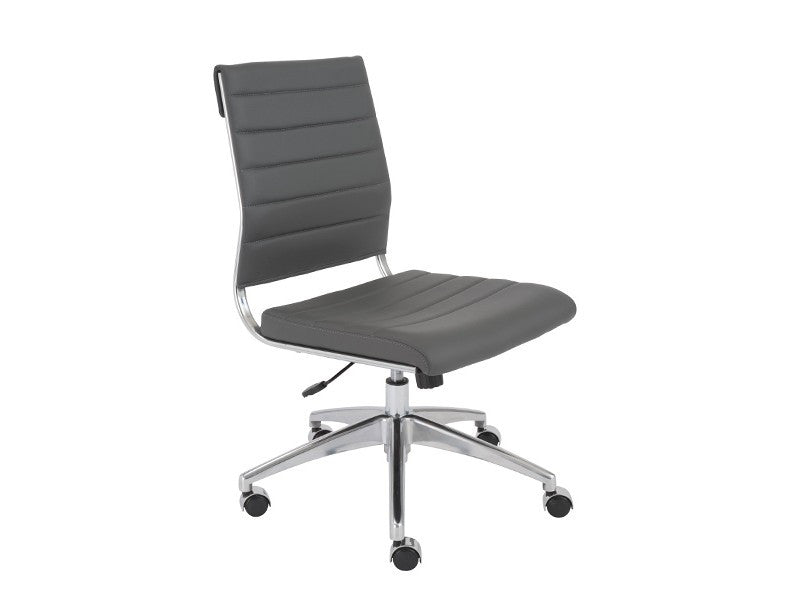 Modern Gray Leather Armless Office Chair with Chrome Base