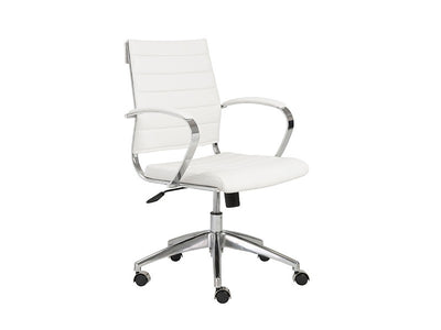 White Leather Low Back Office Chair with Chromed Steel Frame