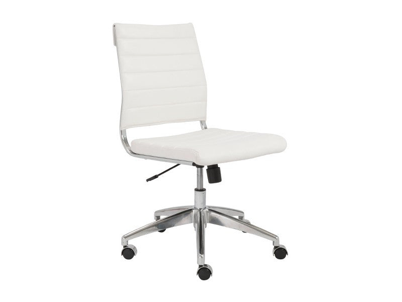 Modern White Leather Armless Office Chair with Chrome Base