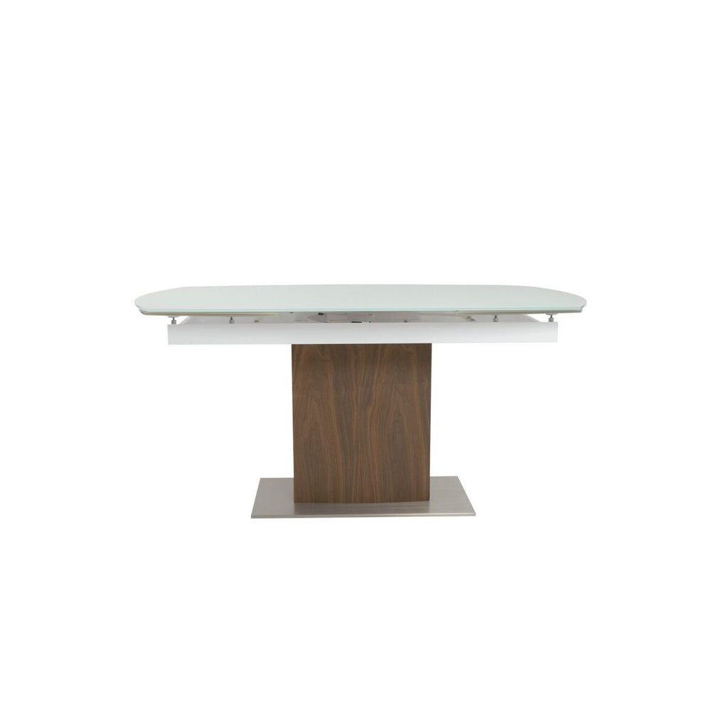 "63"" - 95"" Modern White Glass & Walnut Conference Table or Desk"