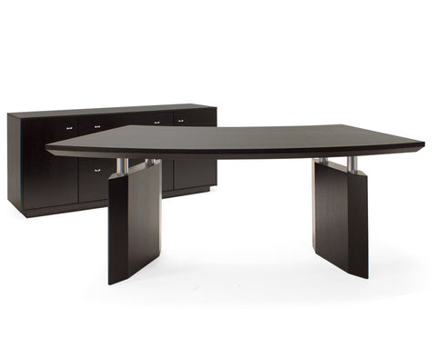 Modern Wenge Curved Executive Desk with Dual Mobile Files
