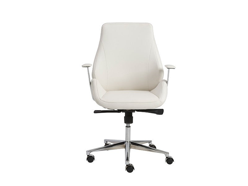 Bergen Collection Modern White Leather & Chrome Office Chair