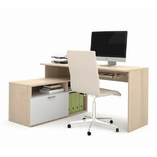 "59"" x 46"" White & Northern Maple Compact L-shaped Desk"