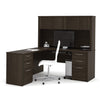 Premium L-shaped Desk with Hutch in Dark Chocolate