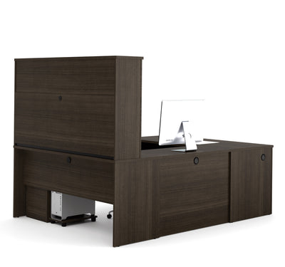 Dark Chocolate Premium U-shaped Desk with Hutch