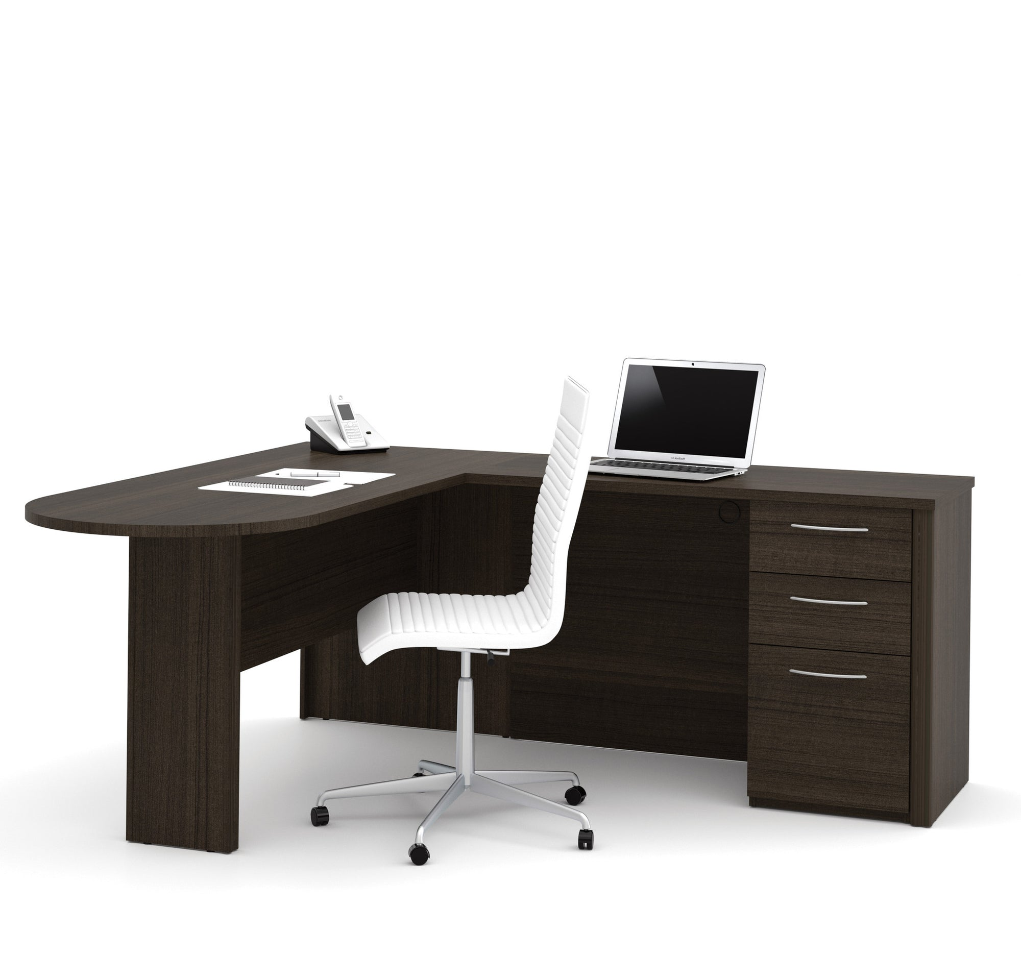 Dark Chocolate Modern L Shaped Desk With Peninsula