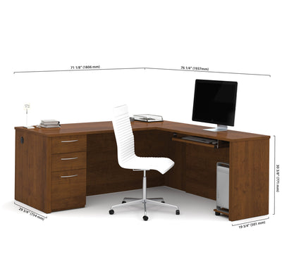 "Modern 71"" x 76"" L-shaped Desk in Tuscany Brown Finish"