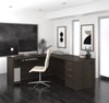 "Modern 71"" x 76"" L-shaped Desk in Dark Chocolate Finish"