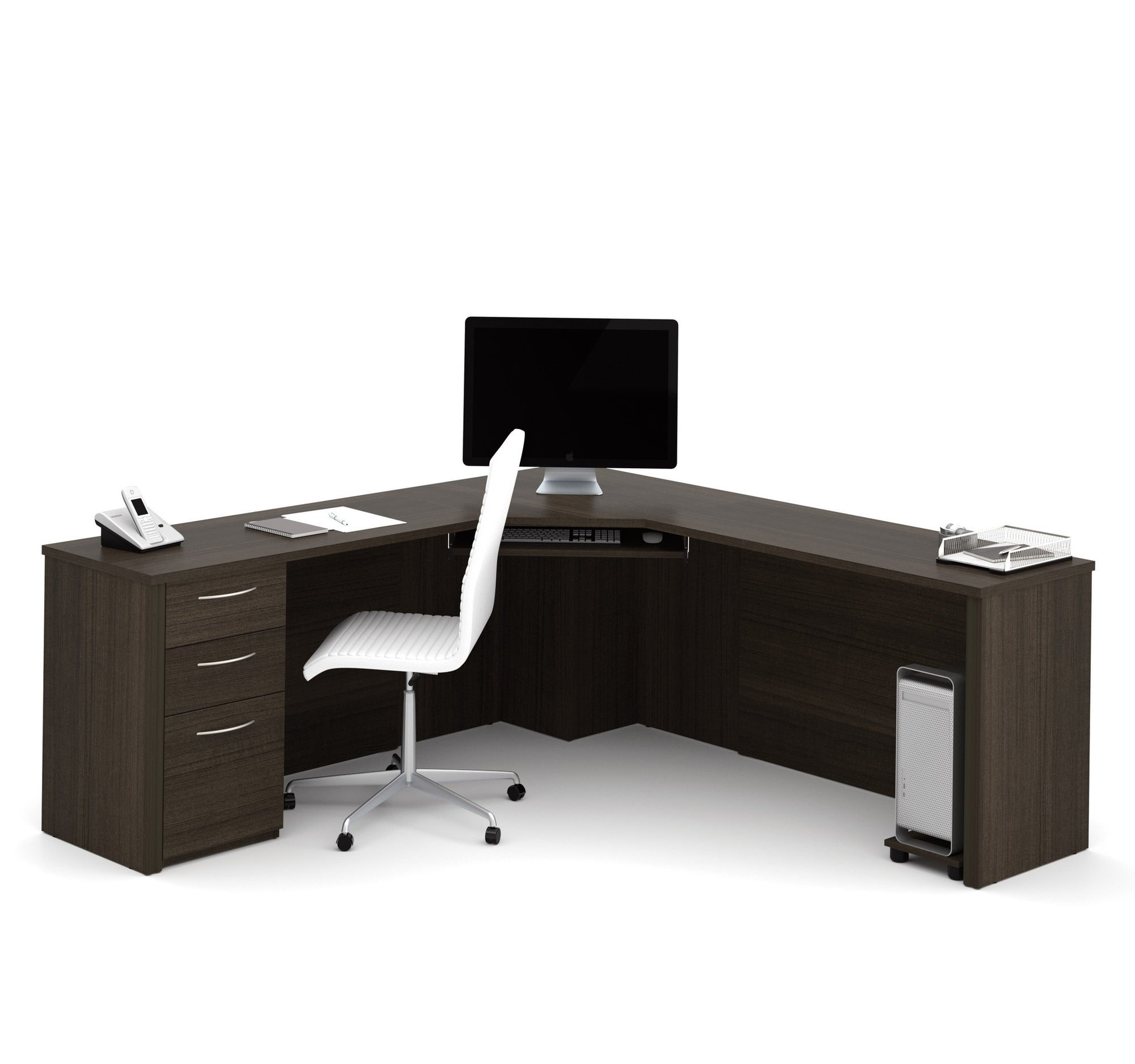 78 X 78 Modern Corner Office Desk In Dark Chocolate Officedeskcom