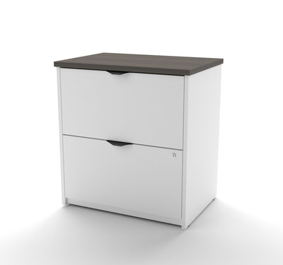 Modern White & Antigua L-shaped Desk with Hutch