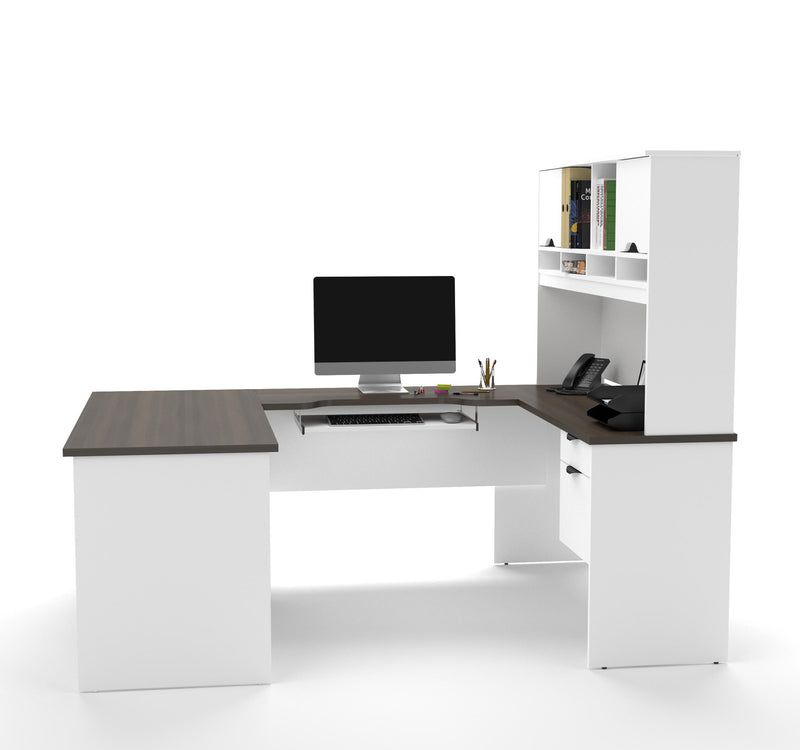 Modern White Amp Antigua U Shaped Office Desk With Hutch