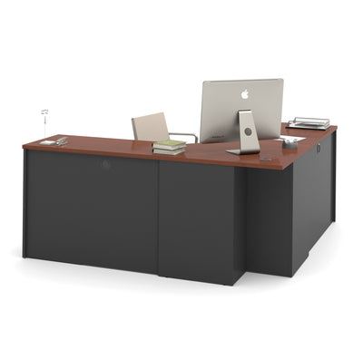 "Bordeaux & Graphite 71"" x 71"" Premium Corner Office Desk"