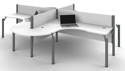 Pro-Biz White Quad Desk with Modern Rounded Edges