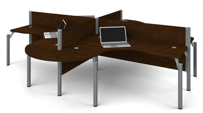 Pro-Biz Chocolate Quad Desk with Modern Rounded Edges