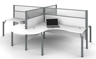 "Pro-Biz White Quad Desk with Rounded Edges & 55"" Privacy Panels"