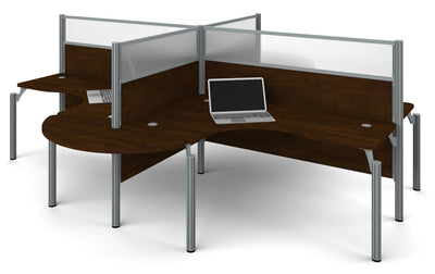 "Pro-Biz Chocolate Quad Desk with Rounded Edges & 55"" Privacy Panels"