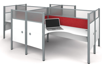Pro-Biz Premium White Quad Desk with Ultimate Privacy & Red Tack Boards
