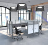 Pro-Biz Premium White Quad Desk with Ultimate Privacy & Gray Tack Boards