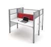 "Double Desk with Red Tack Board & 55"" Privacy Panel in White"