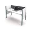 "62"" Premium White Desk with Privacy Panel & Gray Tack Board"