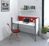 "62"" Premium White Desk with Privacy Panel & Red Tack Board"