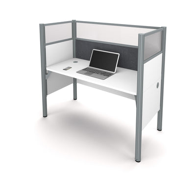 "White 62"" Premium Workstation with 55"" Privacy Panel & Gray Tack Board"