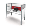 "White 62"" Premium Desk with 55"" Privacy Panel & Red Tack Board"
