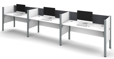 White Pro-Biz Triple Workstation with Gray Tack Board