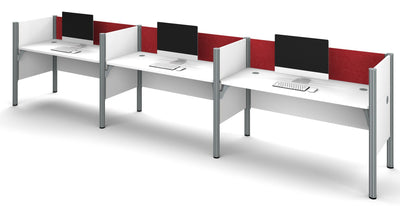 White Pro-Biz Triple Workstation with Red Tack Board