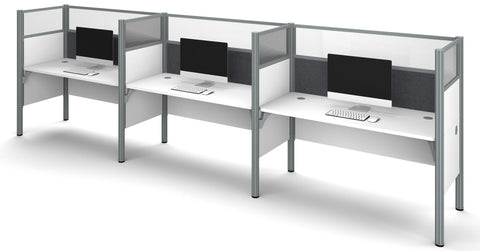 "White Pro-Biz Triple Workstation with 55"" Privacy Panel & Gray Tack Board"