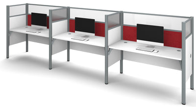 "White Triple Workstation with 55"" Privacy Panel & Red Tack Board"