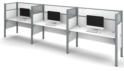 "Premium White Three-Desk Workstation with 55"" Privacy Panels"