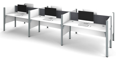 Premium White Six-Desk Workstation with Gray Tack Board